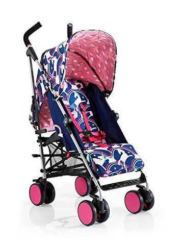 Cosatto super go baby pushchair push chair buggy pram easy to clean unicorn rainbow theme folds down raincover pink wheels