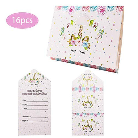16PCS Unicorn Party Invitations | Parties, Baby Showers | Unicorn Party Decorations