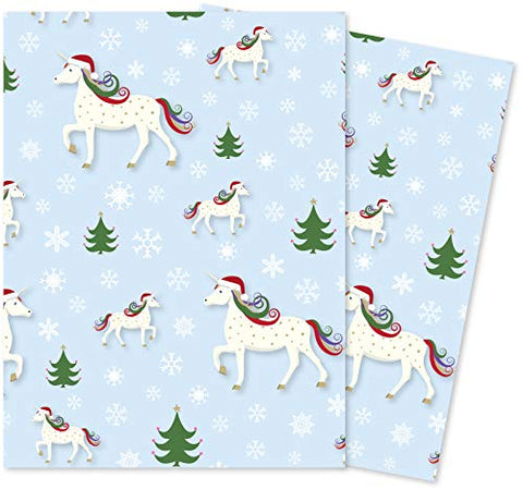 Christmas Unicorn In Santa Hat | Wrapping Paper | 70 x 50 cm