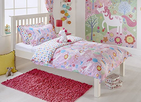 Unicorn Girls Single Quilt Duvet Cover and Pillowcase Bedding Bed Set Flowers Rainbows - Pink