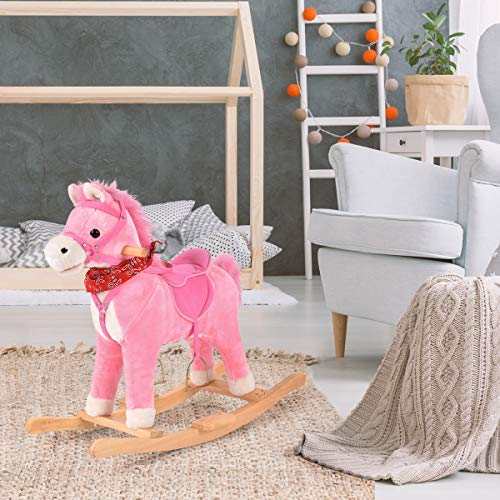 Girls Traditional Pink Unicorn Rocking Horse