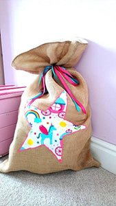 Unicorn Present Toy Sack For Christmas | Santa Sack | Hessian, Multicoloured Ribbons