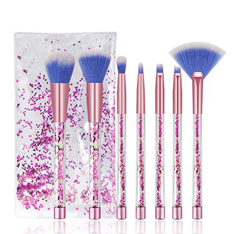 Glitter Confetti Makeup Brush Set | With Case | Beautiful Pink Purple Cosmetic Brushes