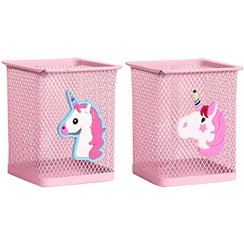 2 Pack Metal Cute Pen Pencil Holder | Unicorn Design | Office Home Desk | Pink