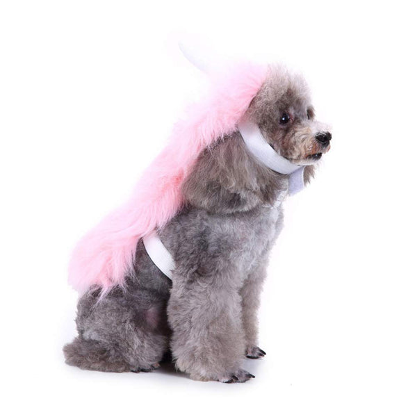 Pink Unicorn Dog Costume with Horn and Long Mane