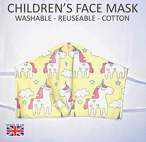 Children's Breathable Unicorn Face Mask | Face Covering | Reuseable Washable | Made in UK