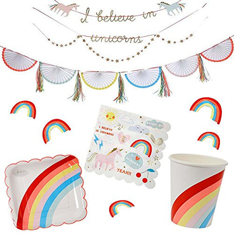 Luxury Design Unicorn and Rainbows Girls Birthday Party Bundle for 12