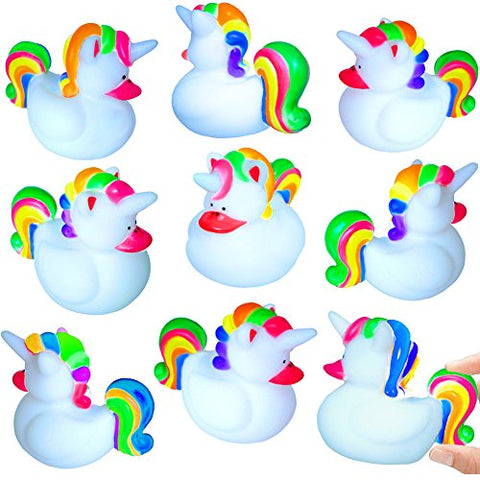 12 x Unicorn Rubber Ducks | Squeaky Bath Toy | Rubber Toy