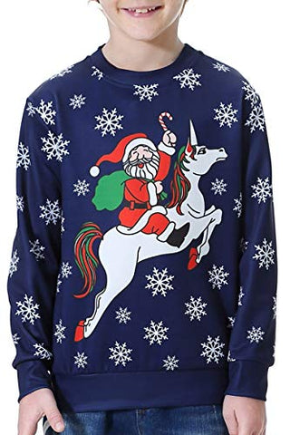 Kids Christmas Novelty Sweatshirt | Unicorn Design