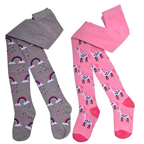 Girls Unicorn & Rainbow Tights | Grey & Pink | 1 -2 years