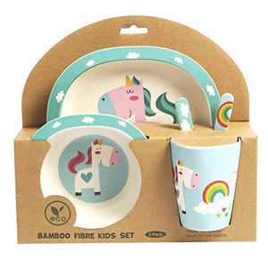 Cute Unicorn Design 5-Piece Bamboo Dinner Set for Children - Blue