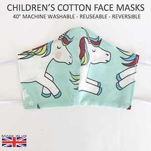 Children 6-12 Breathable Face Mask Unicorn Reuseable Washable UK seller