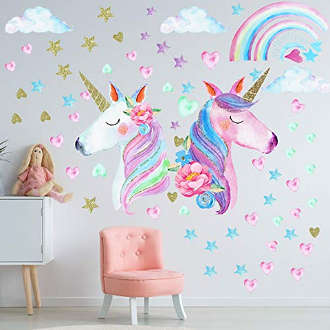 Pretty Unicorn Wall Decal Stickers | Large Size Unicorn Rainbow Wall Decor