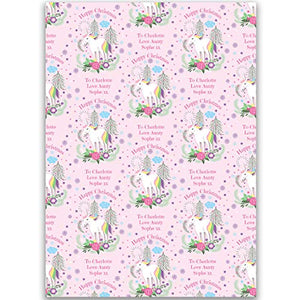 Personalised Christmas Wrapping Paper | Unicorn Design | Pink