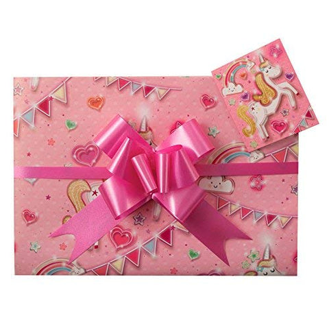 Unicorn Pink Gift Wrap Pack | Including Bows | Birthday