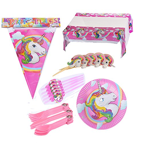 Hangnuo 112PCS Unicorn Birthday Party Supplies Serves 20 - Banner, Table Cloth, Cake Toppers, Dinner Set, Straws