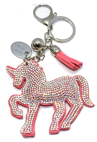 Be My Valentine Personalised Unicorn Keyring/Handbag Charm In Gift Pouch | Pink Diamante