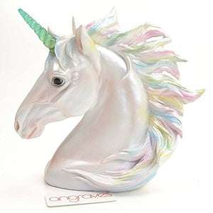 Large Light Up Unicorn Pearlescent White Harmony Unicorn Figure Head Ornament