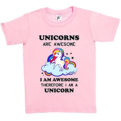 Fancy A Snuggle Unicorns Are Awesome & So Am I Therefore I'm A Unicorn Kids Girls T-Shirt Baby Pink