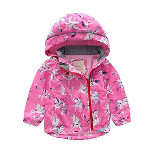 Kids Waterproof Jacket | Girls Raincoat With Hood | Pink Unicorn