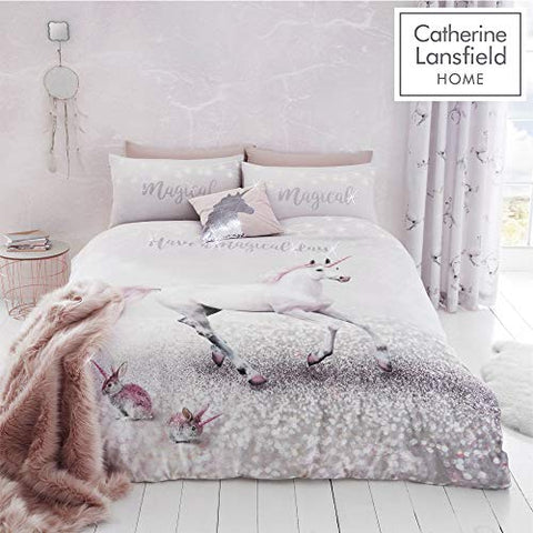 Enchanted Unicorn | Christmas Winter | Easy Care | Double Duvet Set Pink