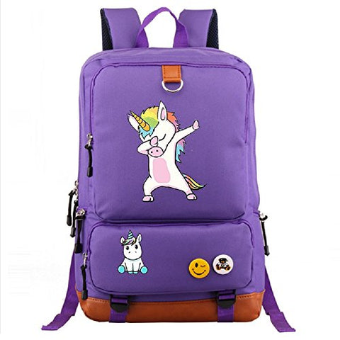 Unicorn Canvas Backpack Black Purple Funny Stylish and Trendy