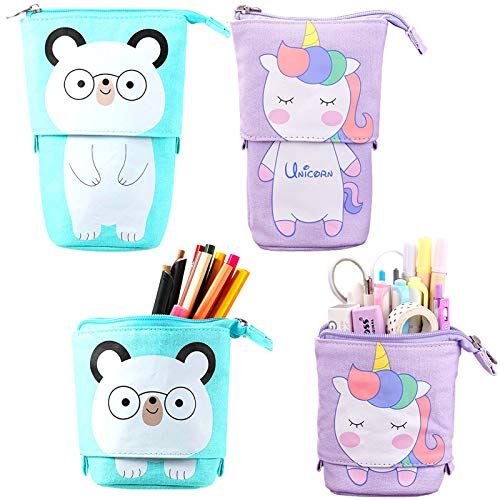 2 PC Unicorn & Spectacled Bear Stand Up Pencil Case | Pen Pot Holder | Organiser