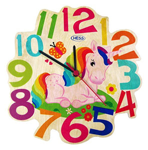 Unicorn wall clock, wooden, Hess. Bright,colourful, kids bedroom, nursery, playroom.