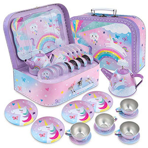 15 Piece Kids Pretend Toy Tin Tea Set & Carrying Case | Cotton Candy Unicorn Design | Jewelkeeper