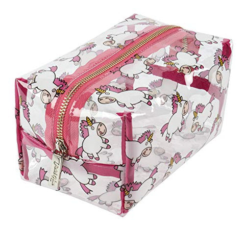Women's Transparent Unicorn Make Up Bag | Large Cosmetics Pouch | Wash Bag