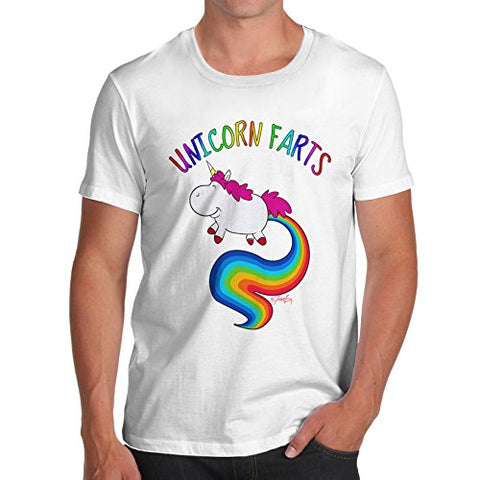 TWISTED ENVY Funny t Shirts For Men Rainbow Unicorn Farts UNI-Farts Funny t Shirts Novelty Joke Humour Medium White