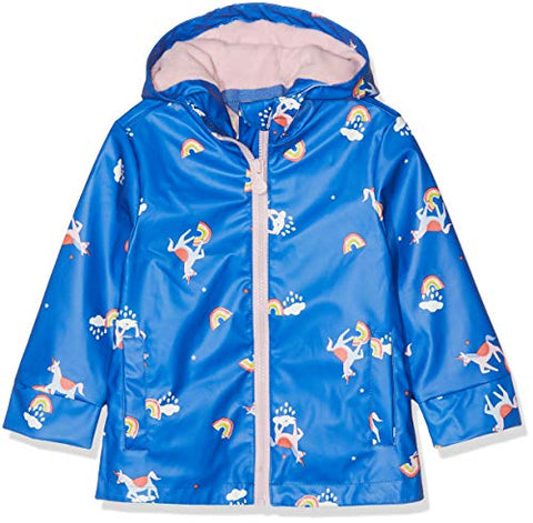 Joules Girls' Raindance Coat, Unicorns & Rainbows, Blue