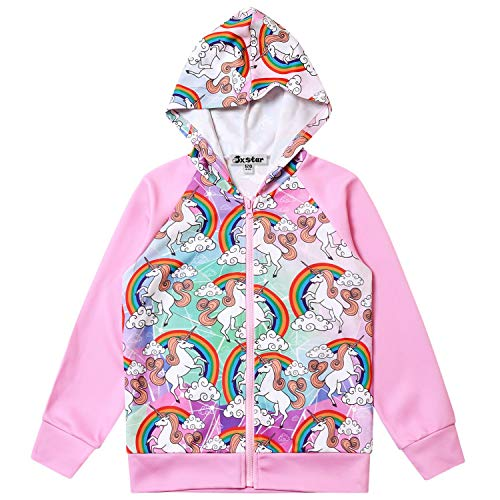 Jxstar Girls Raglan Hoodie Zip Up Jacket Unicorn Cat Sweatshirt with Pockets