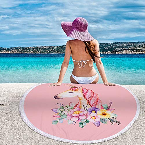 Large Round Floral Unicorn Beach Towel | Pink