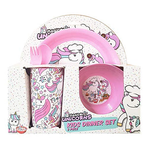 Unicorn Design Kids / Girls Dinner Lunch Set - Plate Bowl Cup