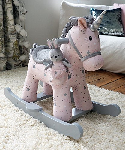 grey and white unicorn rocker wooden frame