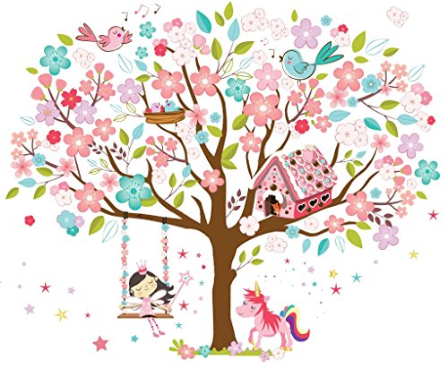 unicorn tree large wall sticker for bedroom