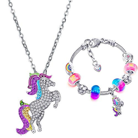 Unicorn Sparkly Crystal Charm Bracelet & Necklace Set | Inc. Greeting Card & Gift Box