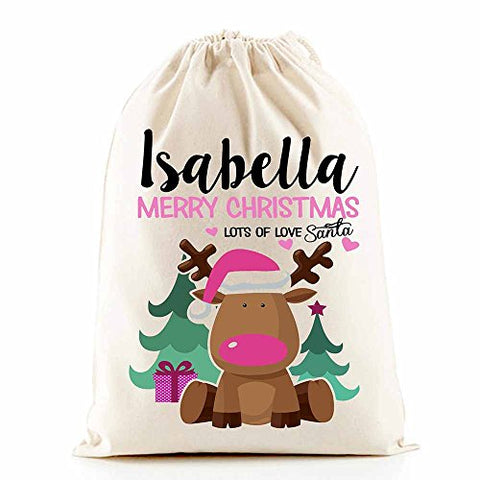 Personalised Santa Sacks (Reindeer Pink Girl)
