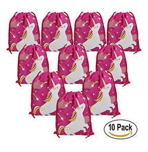 Unicorn Party Supplies Bags for Kids Girls, 10 Pack Drawstring Goodie Bags