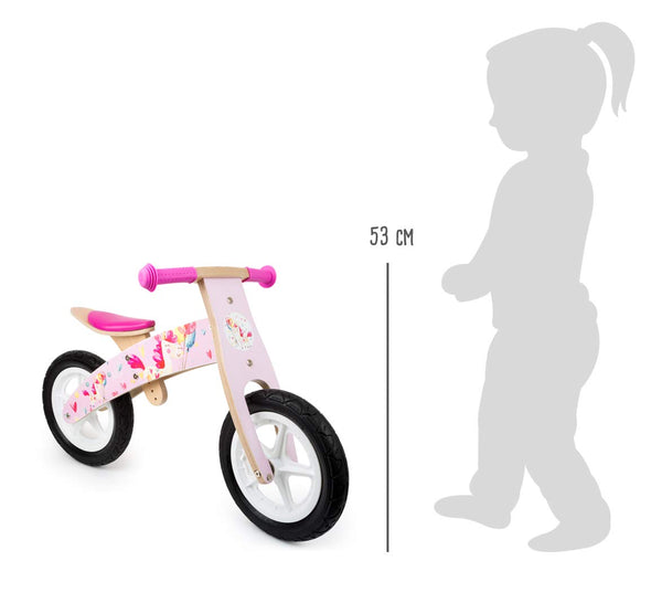 Small Foot 11254 Wooden Balance Bike Pink, Popular Unicorn Design, Promotes Skill and prepares for Cycling, with Adjustable seat and Rubber Wheels, from 3 Years Old Toys