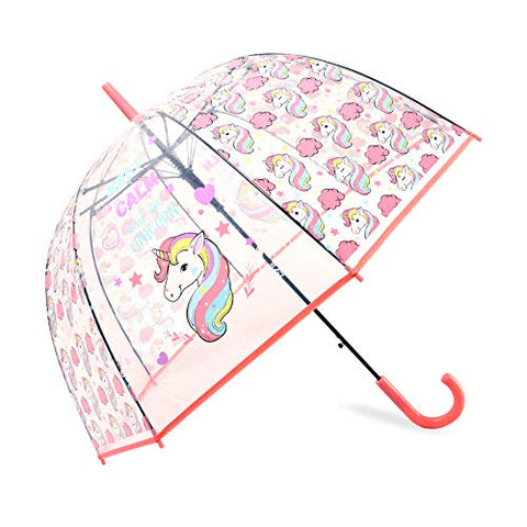 Unicorn Umbrella Transparent Dome Bubble | Kids | Coral
