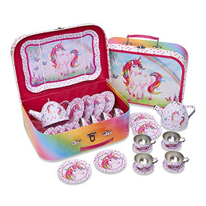 Lucy Locket Magical Unicorn Metal TEA SET & Carry Case Toy (14 Piece Pink Tea Set for Children)