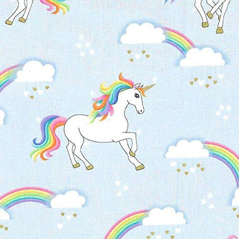 Unicorns Rainbow | Blue Fantasy | Cotton Quilting Sewing Fabric | Michael Miller