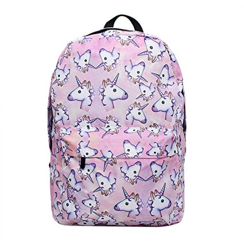 Bonama Pink Unicorn Rainbow Bag Fantasy Backpack Rucksack School Student Travel Bags (Pink)