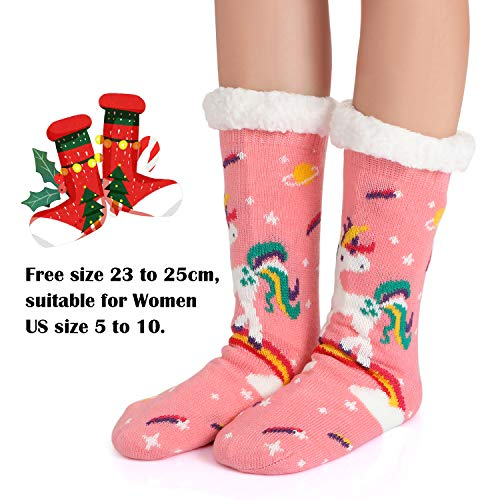Fleece Lined Fluffy Unicorn Slipper Socks For Women and Girls - Pink