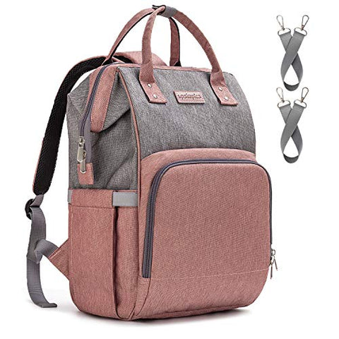 Pink and Grey Baby Changing Bag, Rucksack Backpack with USB Charging Por