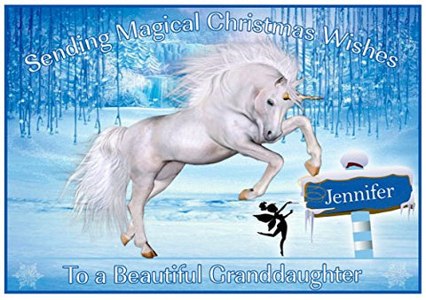 Personalised Unicorn In Forest Christmas Card | Christmas Wishes