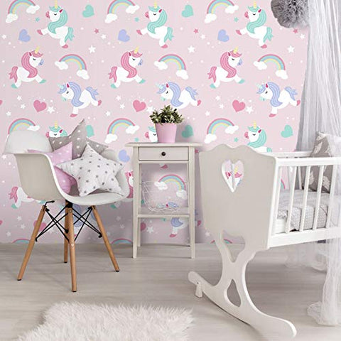 Believe In Unicorns Wallpaper | Pink | World Of Wallpaper | A365 CAO 1