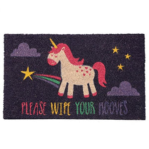 Rainbow Unicorn Doormat |  Wipe Your Hooves | 75 x 2 x 45 cm